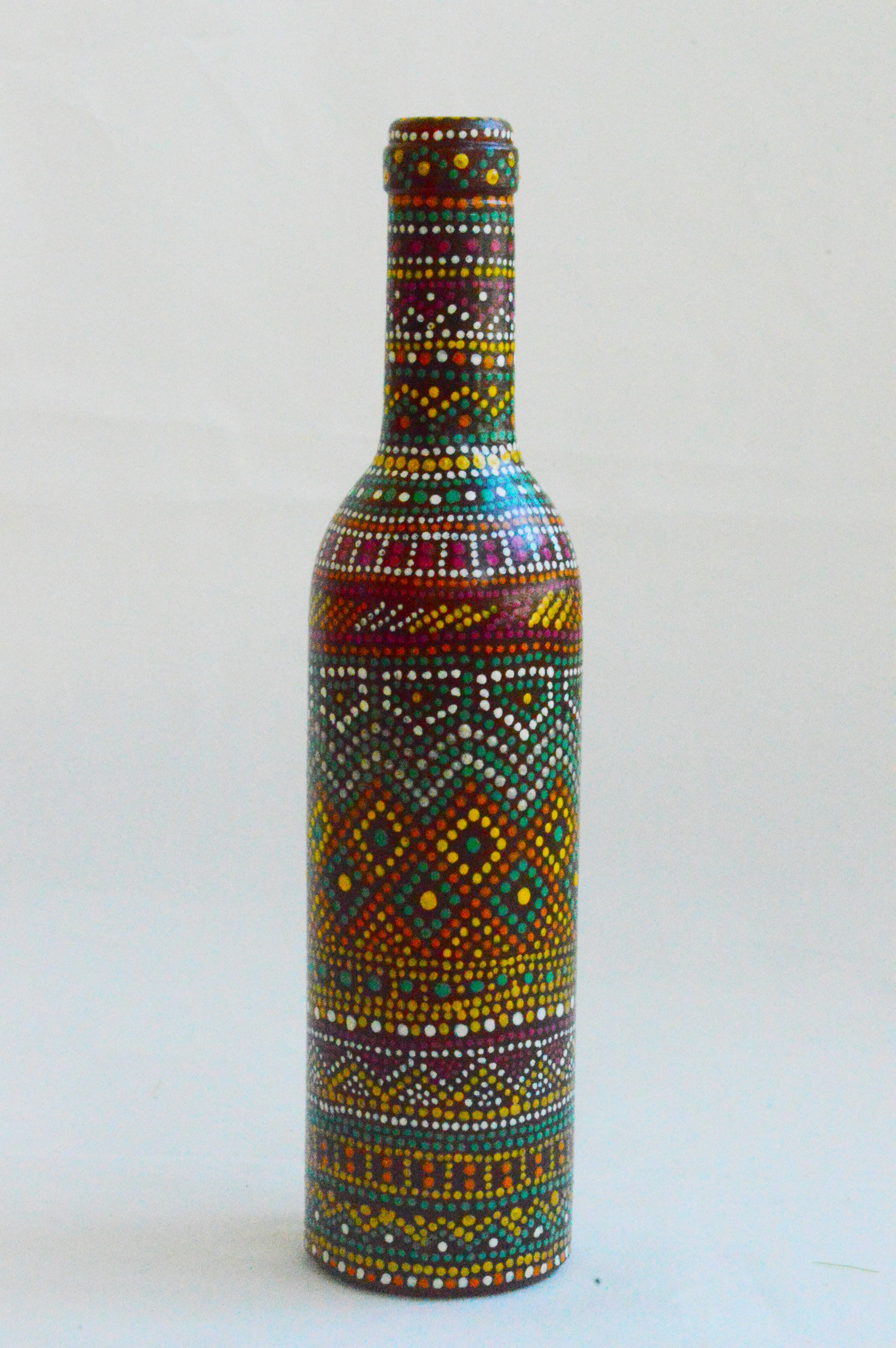 Hand painted Multi color Dot Bottle Hand