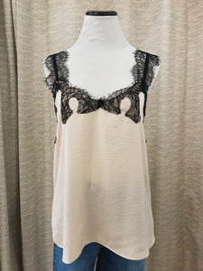 Jean Lace Cami in Cream