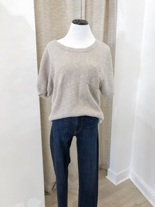 Short Sleeve Sweater in Heather Grey