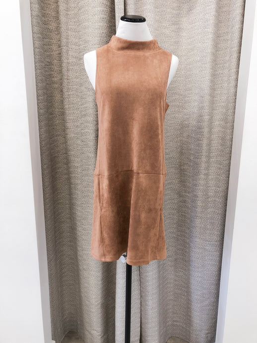 Sueded Shift Dress in Taupe