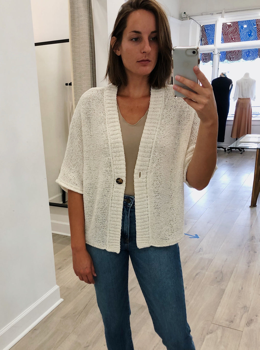 Claudia Drape-Sleeve Cardigan in Ivory - FINAL SALE