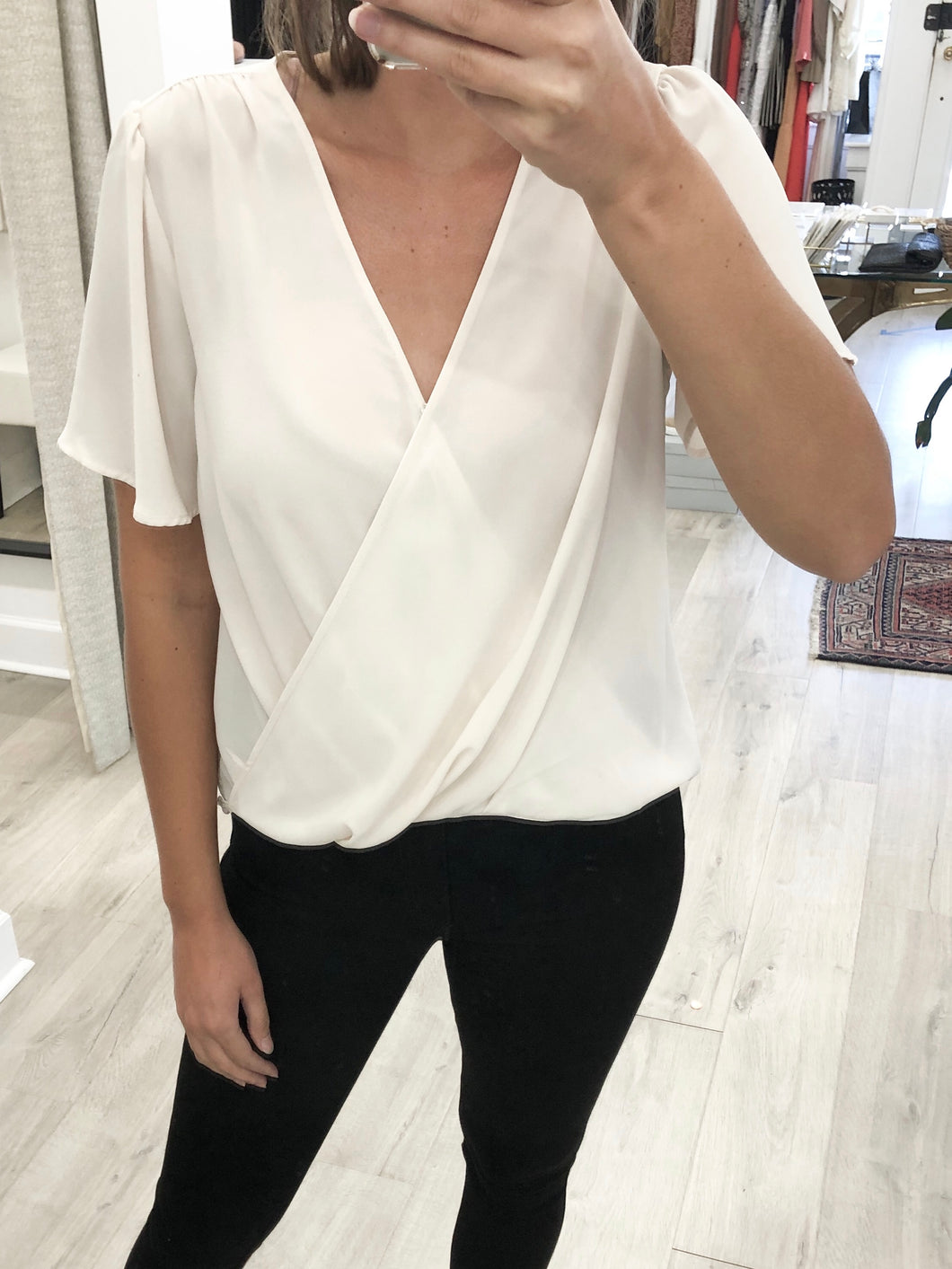 Raven Draped Front Blouse in Cream