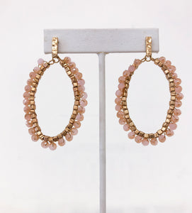 Raquel Oval Earrings in Rose Quartz
