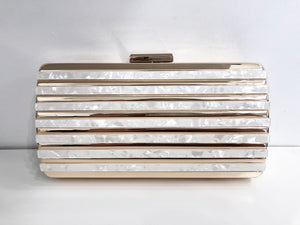 Alexis Hard-Side Clutch in Pearl
