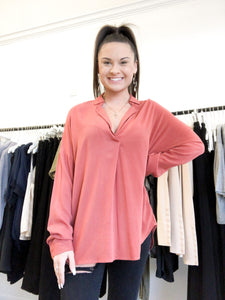 Ina Long Sleeve Notch Collar Top in Etruscan Red