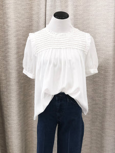 Truvy Smocked Blouse in Ivory