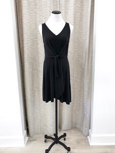 Naomi Knot Front Dress in Black - Final Sale