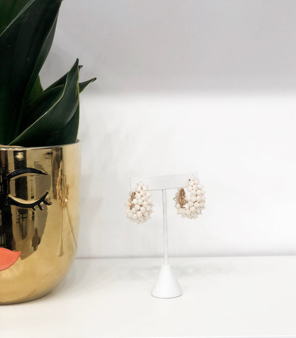Visage Beaded Hoops in Ivory