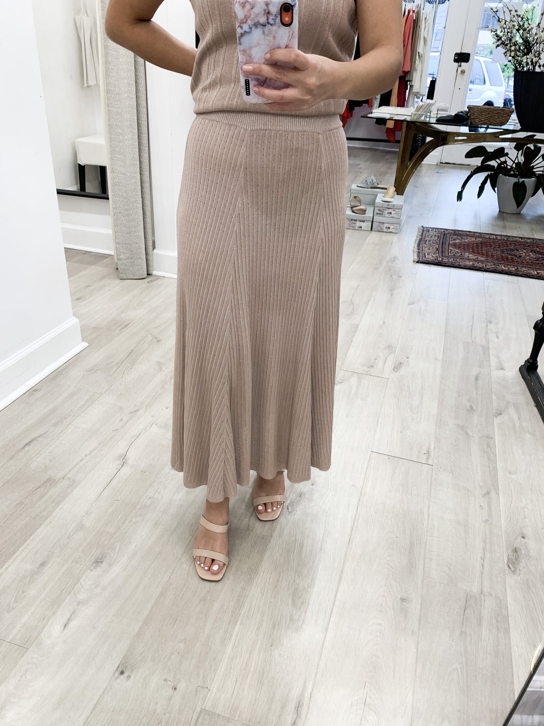 Milo Sweater Skirt in Metallic Dusty Rose - FINAL SALE