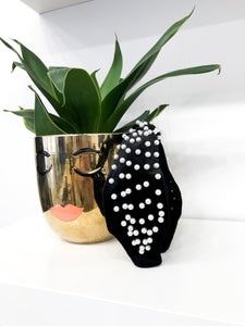 Leslie Pearl Studded Headband in Black Velvet