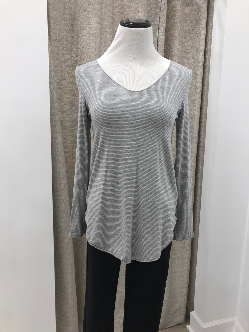 Everyday Long Sleeve Tee in Grey Stripes