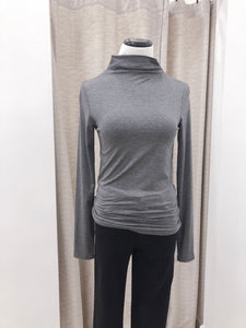 Susan Mock Neck Top in Charcoal