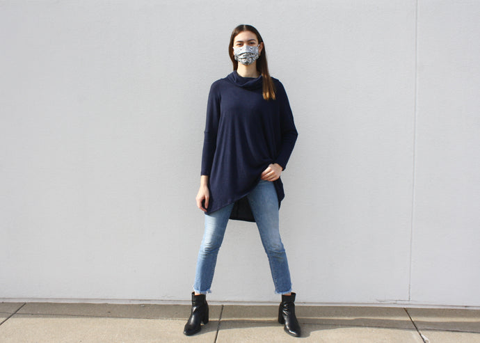 NOVAA Cowl Neck Modal Sweater in Marine
