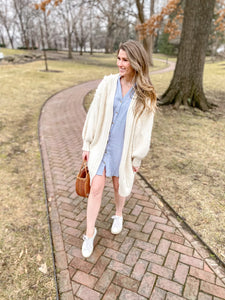 Hester Oversized Chunky Cardigan in Cream