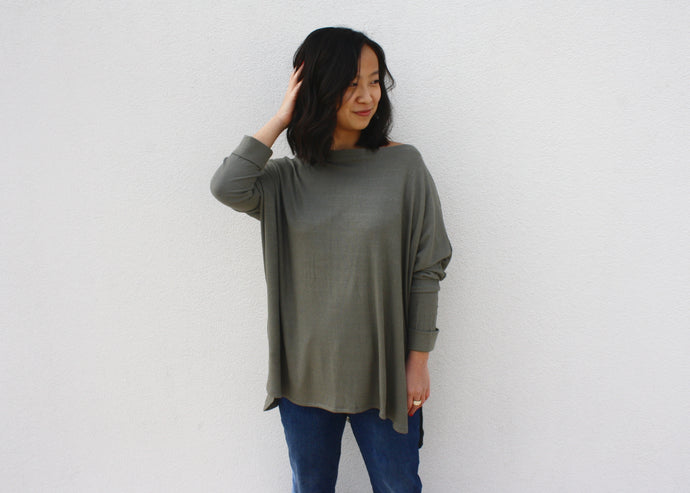 NOVAA Ribbed Hi-Low Dolman in Sage - exclusive