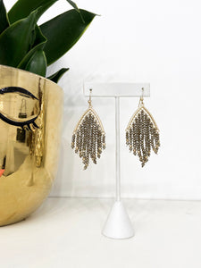 Romania Beaded Tassel Earrings in Champagne