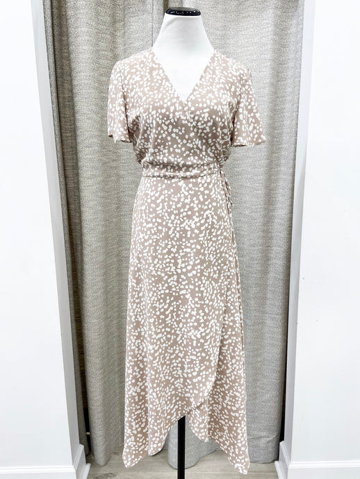 Jasmine Wrap Dress in Taupe Print