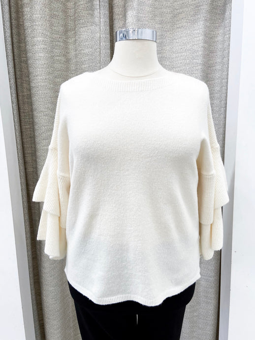 Bridgette Tier-Sleeved Sweater in Ivory