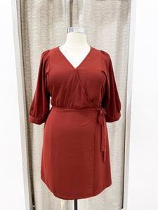 Marcia Wrap Dress in Brick