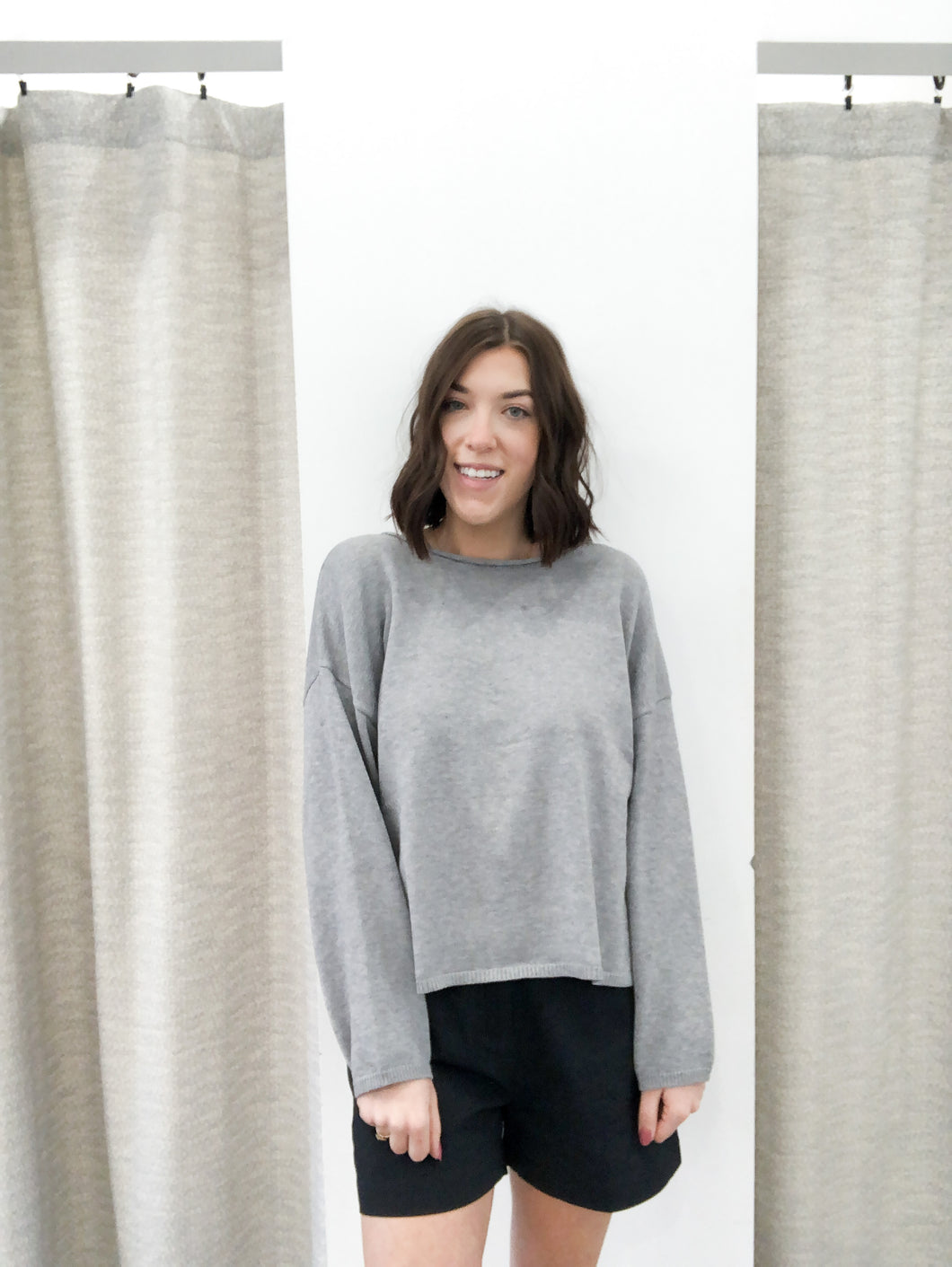 Bridey Sweater in Heather Grey