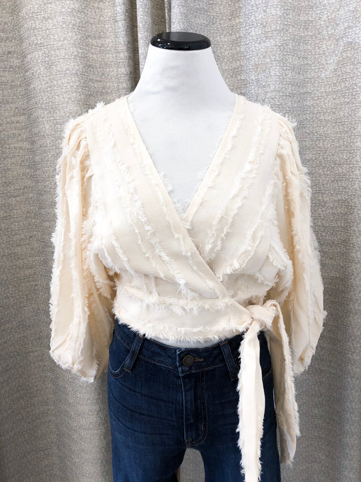 Bubble Sleeve Wrap Top in Cream by Moon River