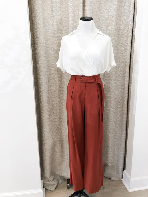 Walton Pleated Trousers in Rust by Moon River