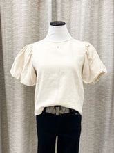 Russell Puff Sleeve Top in Beige