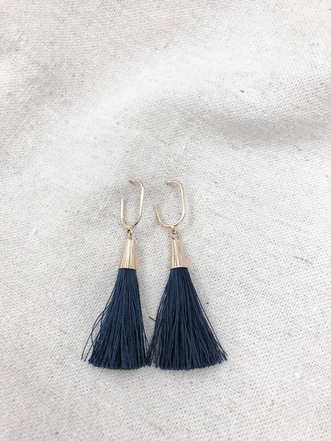 Capped Tassel Earrings in Navy