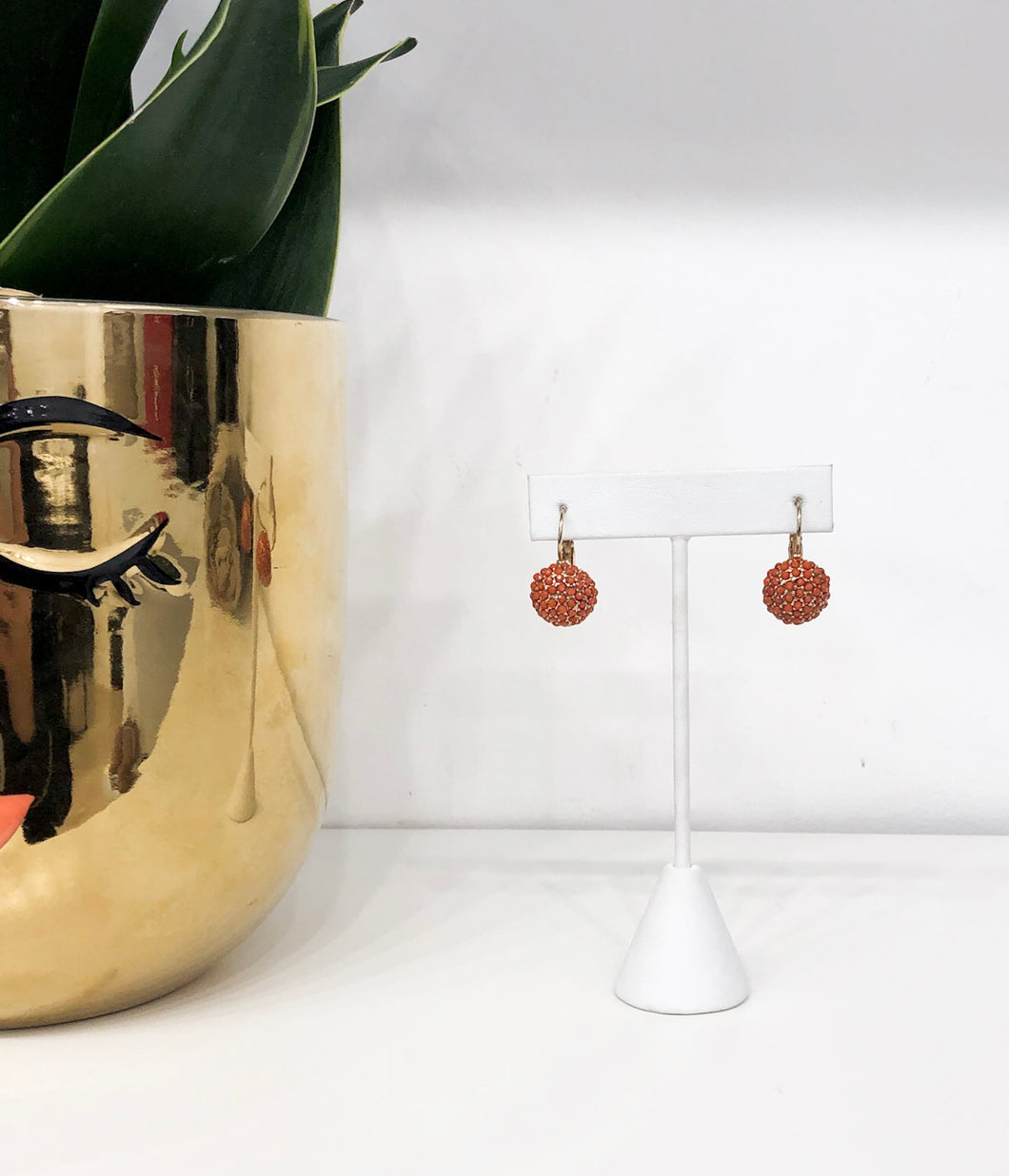 Westminster Druzy Dropstone Earrings in Coral
