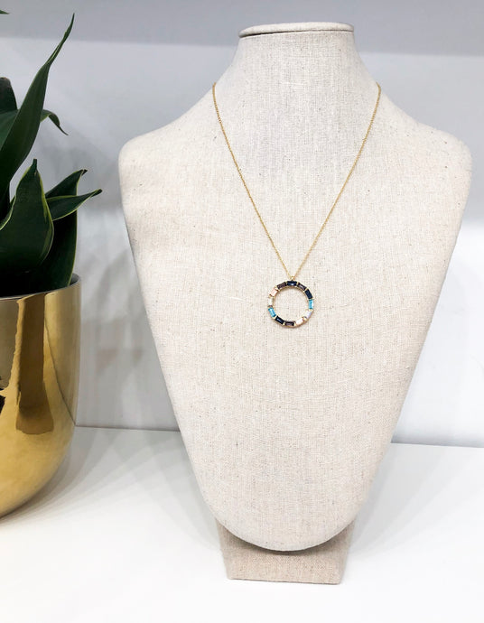 Leawood Circle Necklace in Pastel Baguettes