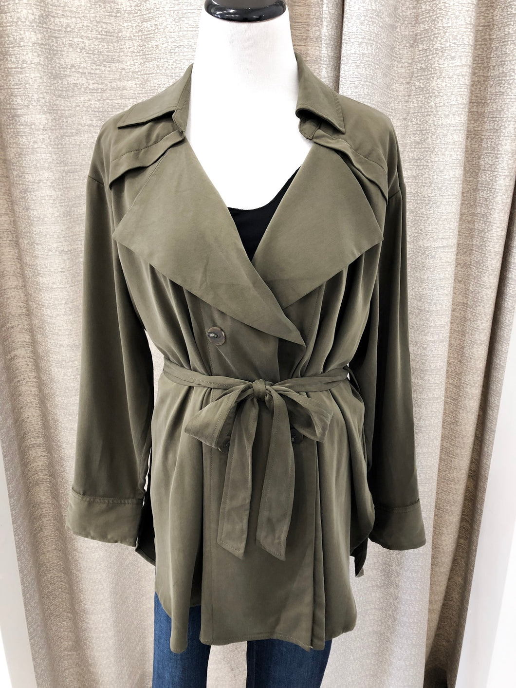 Olive Double-Breasted Trench