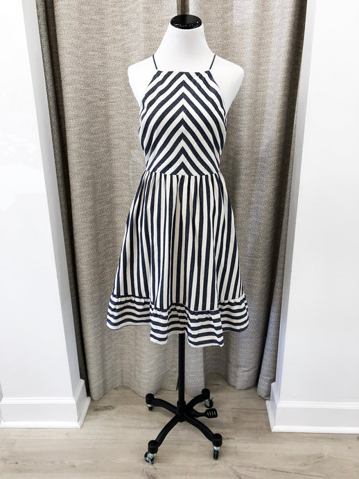 Malbec Dress in Navy Stripe