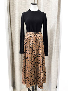 Lavigne Pleated Skirt in Taupe Multi