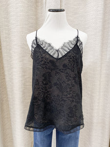 Anne Sheer Lace Cami in Black