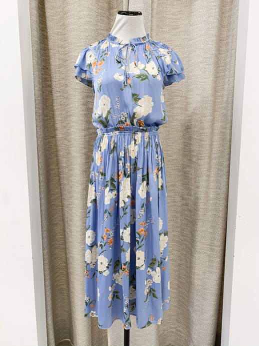 Patricia Floral Print Midi Dress with Pleated Skirt in Blue