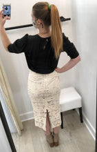 Masha Embellished Lace Pencil Skirt in Cappuccino