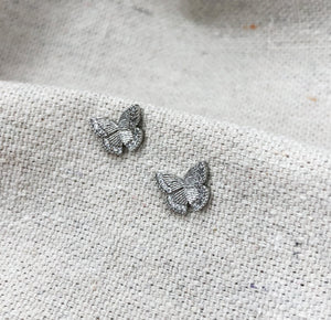 Textured Butterfly Studs in Silver