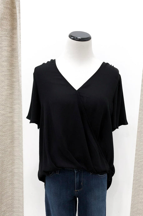 Raven Draped Front Blouse in Black
