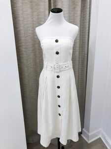 Belted Strapless Dress in Ivory - final sale