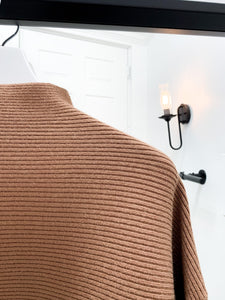 Eastin Mock Neck Ribbed Sweater in Cognac