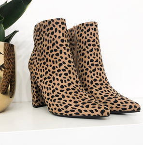 Carrie Block Heel Booties in Cheetah