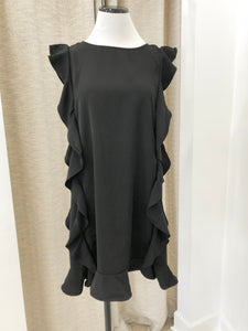 Angie Ruffle Shift Dress in Black