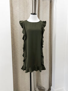 Angie Ruffle Shift Dress in Olive - final sale