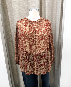 Meredith Blouse in Rust Animal Print