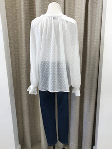 Denise Dot Button Up Top