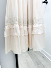 Pacifica Embroidered Hem and Ruffled Dress in Pearl