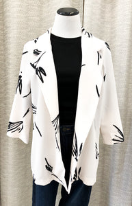 Julia Printed Blazer in Ivory and Black