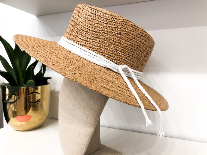 Blair Braided Flat Brim Sun Hat in Tan