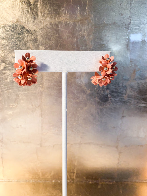 Portico Floral Hoops in Coral