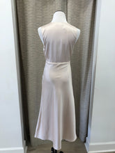 Rita Satin Elevated V-Neck Dress in Champagne
